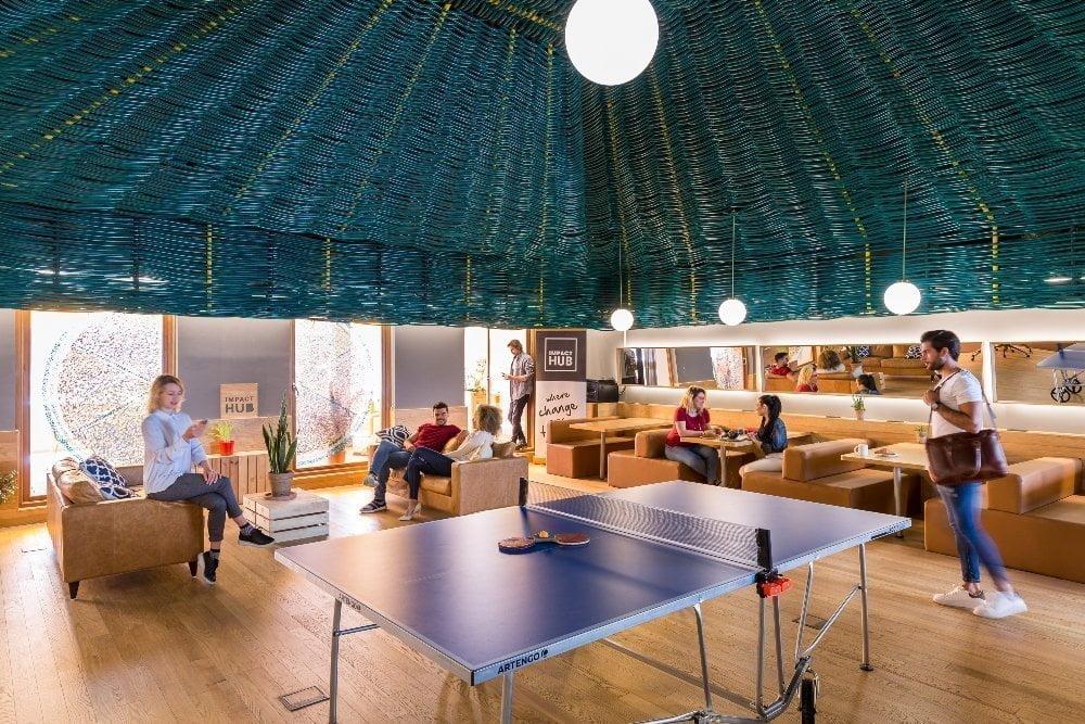 Ático del espacio de coworking Impact Hub Piamonte, en el barrio de Chueca
